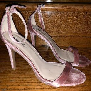 Pink-Velvet Two Band Strap Sandal
